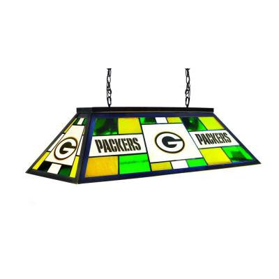 3-Light Black Green Bay Packers Stained Glass Billiard Lamp
