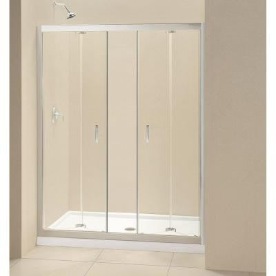 Butterfly 30 in. x 60 in. x 74-3/4 in. Standard Fit Shower Kit with Bi-Fold Shower Door and Center Drain Base