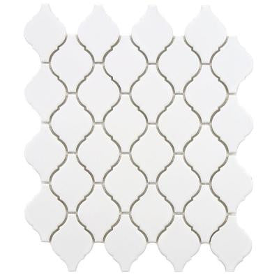 Arabesque Matte White 9-7/8 in. x 11-1/8 in. x 6 mm Porcelain Mosaic Floor and Wall Tile
