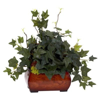 15 in. H Green Puff Ivy with Chest Silk Plant
