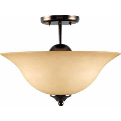 Minster 3-Light Antique Bronze Interior Semi-Flush Mount
