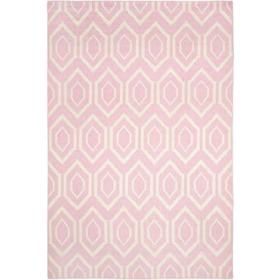 Dhurries Pink/Ivory 9 ft. x 12 ft. Area Rug