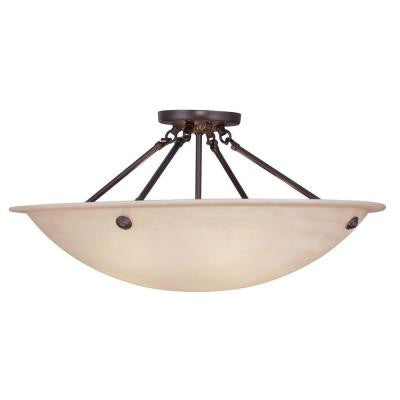 4-Light Bronze Flush Mount with Honey Alabaster Glass Shade