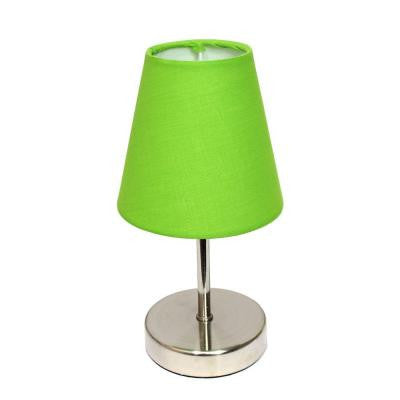 10 in. Sand Nickel Mini Basic Table Lamp with Green Fabric Shade