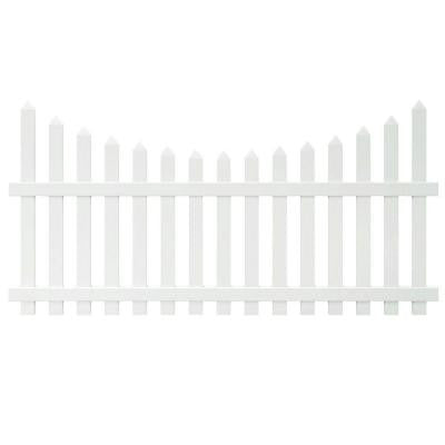 Glendale 4 ft. x 8 ft. Scalloped Top Spaced Picket Vinyl Fence Panel with 3 in. Unassembled Pointed Pickets