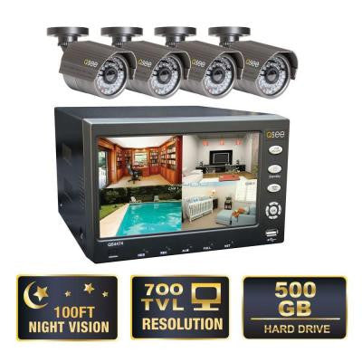 Advanced Series 4-Channel CIF 500GB Surveillance System with (4) 900 TVL Cameras and 7 in. LCD Monitor