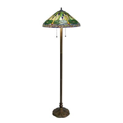 Tiffany Dragonfly 60 in. Green Bronze Floor Lamp