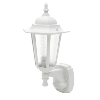 18 in. White Motion Activated Outdoor Die-Cast Coach Lantern