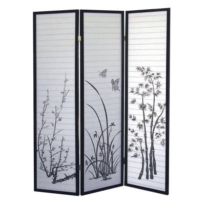 3-Panel Natural-Fiber Room Divider with Scenery