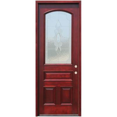 36in.x96in. Traditional 3/4 Arch Lt Stained Mahogany Wood Prehung Front Door w/6in Wall Series and 8 ft. Height Series