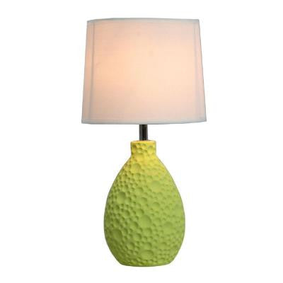 14 in. Green Textured Stucco Ceramic Oval Table Lamp