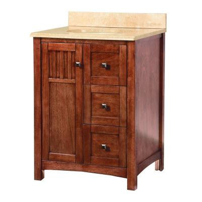 Knoxville 25 in. W x 22 in. D Vanity in Nutmeg with Stone Effects Vanity Top in Oasis