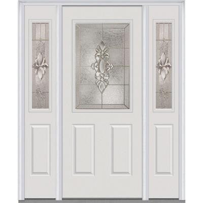 60 in. x 80 in. Heirloom Master Decorative Glass 1/2 Lite Painted Fiberglass Smooth Prehung Front Door with Sidelites