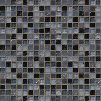 Black Azure 12 in. x 12 in. 8 mm Glass Marble Mosaic Wall Tile