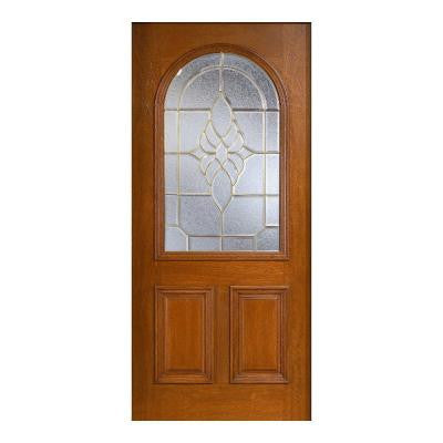 36 in. x 80 in. Mahogany Type Prefinished Cherry Beveled Brass Roundtop Glass Solid Wood Front Door Slab