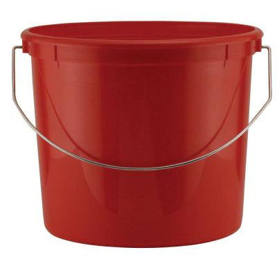 5-qt. Red Plastic Bucket with Steel Handle (24-Pack)