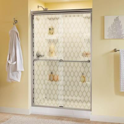 47-3/8 in. x 70 in. Semi-Framed Sliding Shower Door in Nickel