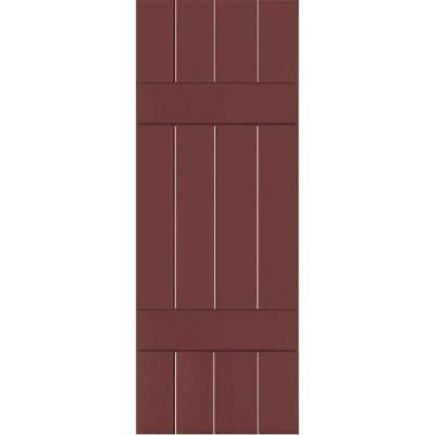 15 in. x 32 in. Exterior Real Wood Sapele Mahogany Board and Batten Shutters Pair Cottage Red