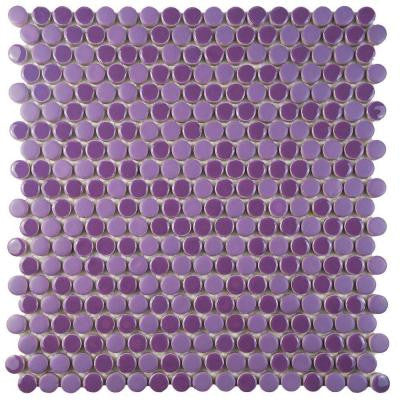 Comet Penny Round Purple 11-1/4 in. x 11-3/4 in. x 9 mm Porcelain Mosaic Tile