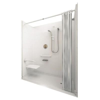 Elite White 31 in. x 60 in. x 77-1/2 in. 5-piece Barrier Free Roll In Shower System in White with Right Drain
