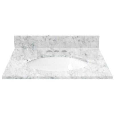 25 in. Marble Vanity Top in White Carrara with White Basin