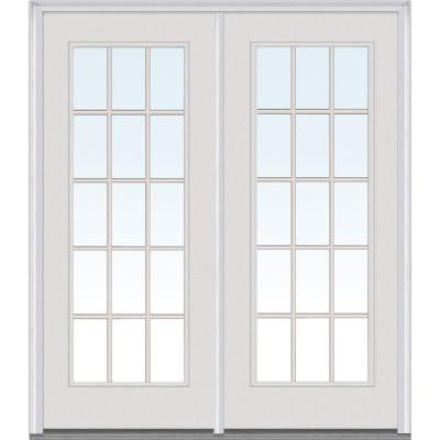 60 in. x 80 in. Classic Clear Glass Builder's Choice Steel Prehung Right-Hand Inswing 15 Lite GBG Patio Door