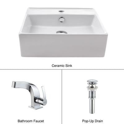 Vessel Sink in White with Typhon Faucet in Chrome