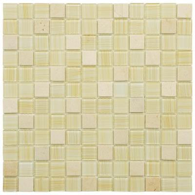 Spectrum Square Macadamia 11-1/2 in. x 11-1/2 in. x 4 mm Glass and Stone Mosaic Wall Tile
