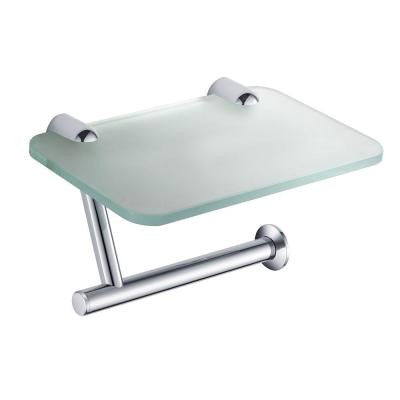 Alzato Single Post Toilet Paper Holder with Phone Tray in Chrome