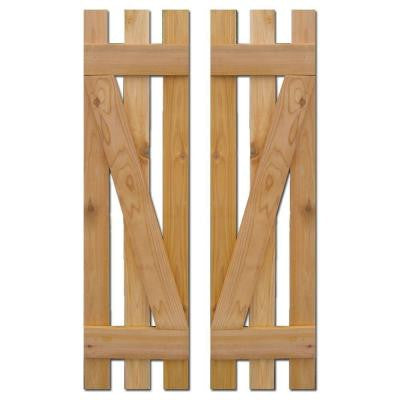 12 in. x 36 in. Baton Spaced Z Board and Batten Shutters (Natural Cedar) Pair