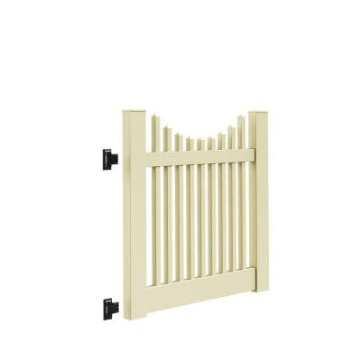 Yukon Scallop 4 ft. x 4 ft. Sand Vinyl Un-Assembled Fence Gate