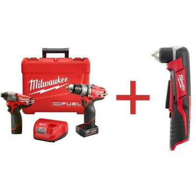 M12 FUEL 12-Volt Lithium-Ion Brushless 1/2 in. Cordless Hammer Drill/Impact Combo Kit with M12 3/8 in. Right Angle Drill