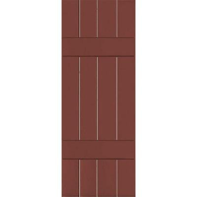 15 in. x 60 in. Exterior Real Wood Pine Board & Batten Shutters Pair Country Redwood