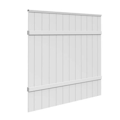 White Vinyl Windham Fence Panel (Common: 6 ft. x 6 ft.; Actual: 68.375 in. x 68.0 in. x 1.82 in.)