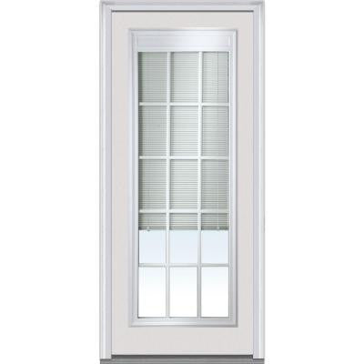 36 in. x 80 in. Internal Mini Blinds Clear Glass Full Lite Primed Fiberglass Smooth Prehung Front Door with Muntins
