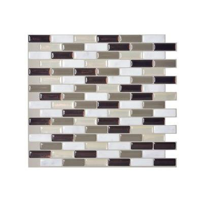 10.20 in. x 9.10 in. Peel and Stick Mosaic Decorative Wall Tile Backsplash Stone in Taupe