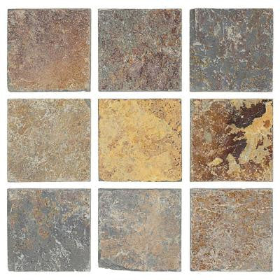 Tumbled Slate 4 in. x 4 in. x 8 mm Floor and Wall Tile (9 pieces / 1 sq. ft. / pack)