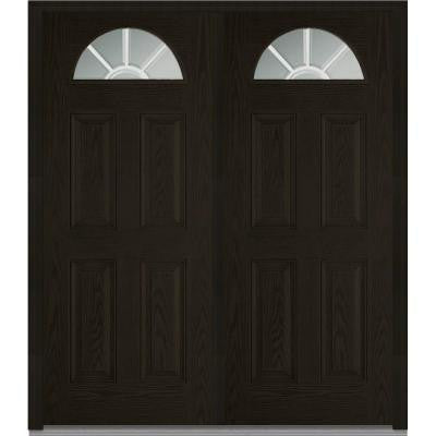 64 in. x 80 in. Classic Clear Glass GBG 1/4 Lite Finished Oak Fiberglass Double Prehung Front Door