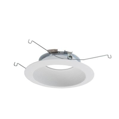 6 in. Matte White Recessed Lighting LED Baffle Trim
