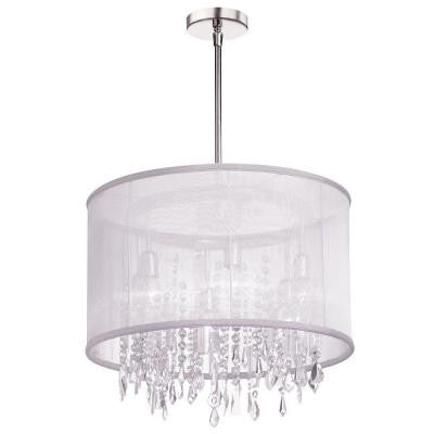 Bohemian 6-Light Polished Chrome Crystal Chandelier with White Organza Drum Shade