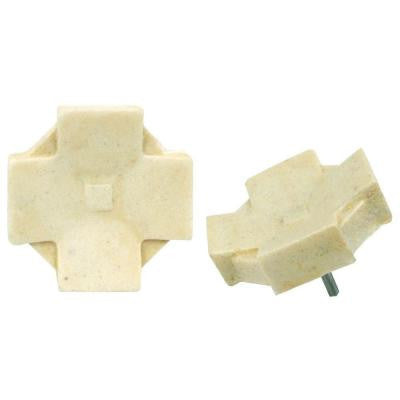 Contempo Clove Light Travertine 1-1/5 in. x 1-1/5 in. Mosaic Medallion Pin Insert Wall Tile (4-Pack )