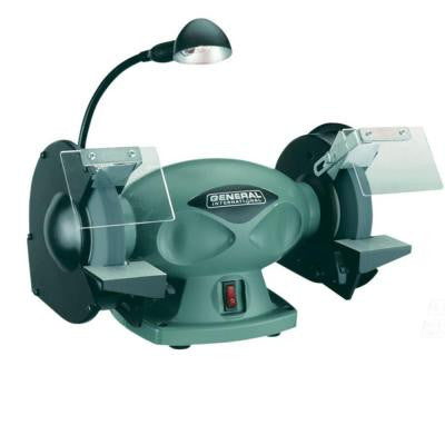 110-Volt 6 in. Low RPM Bench Grinder with Built-In Work Light