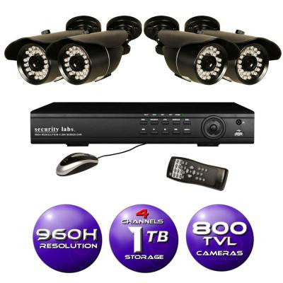 4-Channel 960H DVR Surveillance System with 500GB HD (4) 800TVL IR Bullet Cameras