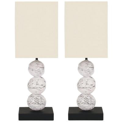 Samantha 19.7 in. White Wash Mini Table Lamp with Beige Shade (Set of 2)