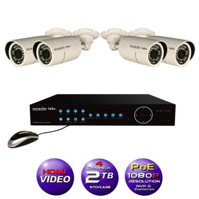 4CH High Definition 1080P IP POE-NVR Surveillance System with 2TB Hard Drive, 4 Weatherproof Bullet Cameras and Apps
