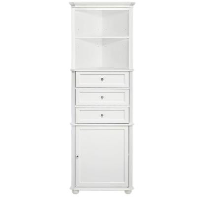 Hampton Bay 23 in. W Corner Linen Cabinet in White