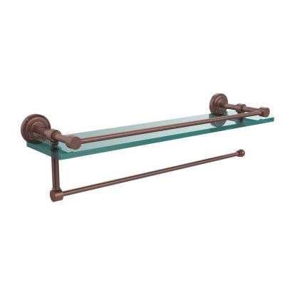 Dottingham Collection Paper Towel Holder with 16 in. W Gallery Glass Shelf in Antique Copper