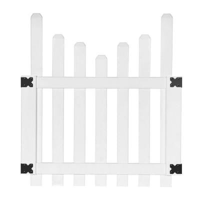 3.5 ft. x 4 ft. White Vinyl Glendale Scalloped Top Spaced Picket Fence Gate with 3 in. Dog Ear Pickets