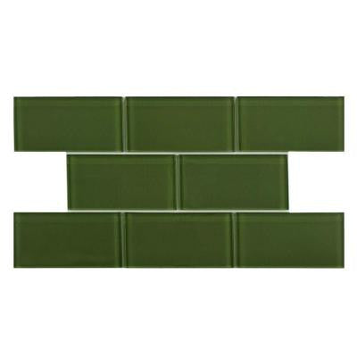 Tessera Subway Sage 3 in. x 6 in. x 8 mm Glass Wall Tile (1 sq. ft. / pack)