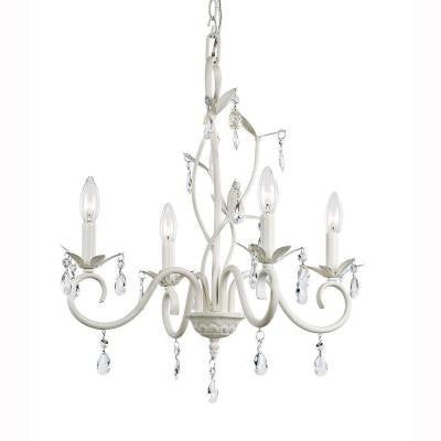 4-Light White Crystal Accent Chandelier